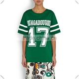 fashion girls streetwear Green long printed Baseball Jersey custom made with high quality dry fit technical performace fabric