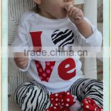 Baby Girl Valentines Day Outfit zebra love bodysuit and leg warmers -- red, pink and zebra, Bowknot Decoration Kids Clothes