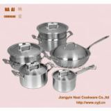 12pcs Classic triply Stainless Steel induction Cookware Set( Casserole,saucepan, sautepan and steamer)