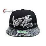 Adjustable 3D Embroidered Fitted Baseball Hats With Snake Skin Leather Peak