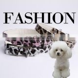 Wholesale Leather Dog Collars Personalized Leopard Making Leather Dog Collars Leather Cat Dog Puppy Pet Collar in 3colors