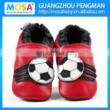 Soft Sole Cow Leather Red Football Pattern Kids Loafers