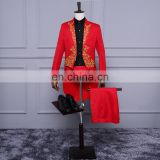 (Jacket+Pants) Red Singer Stage Show Host Ceremonies Tuxedo 2018 Classic Wedding Mens Suits With Pants Men Tailcoat