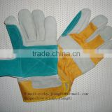 Grey Cow Split Leather Working Glove with Green/ Grey/ Red Fabric Back and Half Lining                                                                         Quality Choice