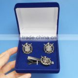 Souvenir Gift Anti Silver Psi Phi Tie Bar and Cufflink with Blue Velvet Box