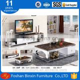 Living room furniture Marble top D009 stainless steel &tempered glass rectangular coffee table with wooden drawers tea table