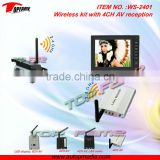 2013 best selling wireless ip camera system WS-2401 wireless kit with 4CH AUDIO/VIDEO reception&transmission