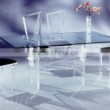 Upscale rectangle acrylic cheap wedding table and chair furniture set