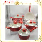 MSF-6697 9pcs pressing aluminum cookware set nice color changing paingting exterior soft touch silicon coating handles