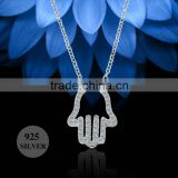 sterling silver sparkling cubic zirconia rhodium plated hamsa hand shaped pendant necklace