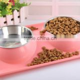Colorful Double Pet Stainless Steel bowls pet dinner feeder and drinker bowls                                                                         Quality Choice