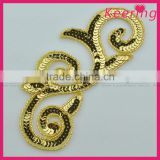 cheap handmade gold beads appliques for belt WRAB-003