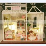 Handmade wooden doll house, adult wooden doll house with light, miniature wood crafts house