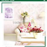 discounted heavy embossed pvc wallpaper, purple pastoral daisy wall paper for ceiling , washable wall decal manufacturer
