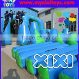 Interactive team building inflatable paintball bunker game, laser target shooting