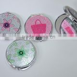 Elegant round compact mirror/pocket mirror/cosmetic mirror with arylic stone for gift /promotional