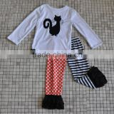 bulk wholesale baby girl long sleeve polka dots cotton ruffle halloween black cat clothing set