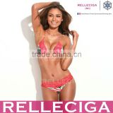 RELLECIGA Lace Bikini Series - US National Flag Pattern + Coral Red Lace Sexy Triangle Top with Brazilian Cut Scrunch Bottom