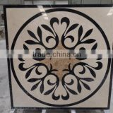 beige and black colour water jet marble floor medallion custom-made medallion