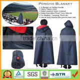 Multi-Purpose Adult Waterproof Hooded Poncho Blanket with Polar Fleece Lining