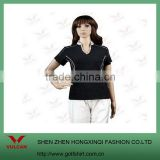 Black ladies golf polo shirt plaid V collar made of cotton fabric