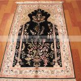 blue color small size handmade silk rug tapestry wall decoration tapestry muslim prayer rug