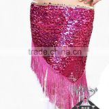 Wuchieal Belly dance waist belt/chain, sequin belly dance hip scarf in performance/practice wear (QC0435)