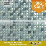 blue frosted glass and marble tile, mosaic bathroom set decoration design