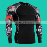 Men in tights running fast dry cycling outdoor fitness training elastic compression wear long sleeved T-shirt