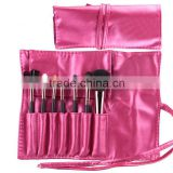 New 7pcs Portable Makeup Brush Set Women Beauty Tools Leather-Like Case 4 Colors Make up Brushes Free Shipping