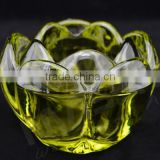 Wholesale Hot Sale Elegant Flower Shape Glass crystal Candle Holder With Different Picture Design,Glass Tealight Holder