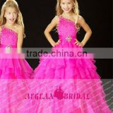 StyleMW0145 New Arrival Organza Crystal Single Shoulder Pageant Ball Gown Girl Pageant Dresses