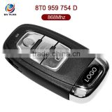 AK008020 Car key blanks wholesale for Audi A4L Q5 3 Button Smart Key with frequency 868MHz [8T0959754D]