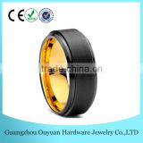 Tungsten Wedding Band Ring 8mm for Men Women Black & 18K Yellow Gold Beveled Brushed Polished