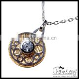 Chameleon Antique Hollow Screw Plate Holder Fashion Stainless Steel Necklace