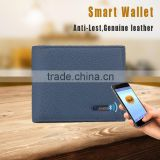 Genuine rfid blocking protected phone bluetooth anti-theft alarm men's leather smart wallet