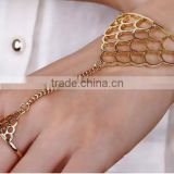 Summer Fashion Women Simple gold Chain Slave Bangle Hand Harness Bracelets Bracelet Finger Ring