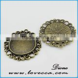 round glass cabochons metal base	,Alloy Jewelry accessory,Wholesale alloy metal blank pendants