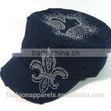 Custom Elegant hats Rhinestone decorated Navy Color caps