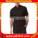 Custom best quality comfortable black short sleeve cotton fitness new model cheap chef uniform