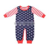 Children Clothes Boutique Kids Patriotic Romper with long sleeve Unisex New Born Baby Onesie in the 4th of july