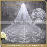 2016 New Fashionable Bridal Accessories five-layer Appliqued Edged White Long Wedding Veil