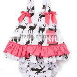 Wholesale pink white deer dress and diaper cover newborn baby swing top set baby clothing sets