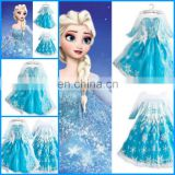 cheap fashionable fancy dress frozen elsa costume frozen movie formal dress and snowflake fabric for elsa elsa dress FC2026