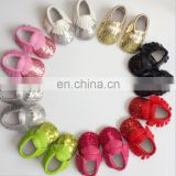Hot sale cute baby glitter shoes with the fringe moccasins