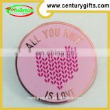 Pink and circular metal badges, Various Designs/Sizes Available, OEM