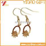 Maple leaf shape ear ring with gold plated