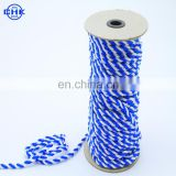 Two color 2 strand twisted PP webbing rope in garment decoration