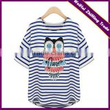 new women in Europe and America loose cotton short-sleeved striped T-shirt tops beaded owl