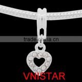 Vnisatr silver plated heart dangle beads with clear crystals for european bracelet wholesale PBD2702